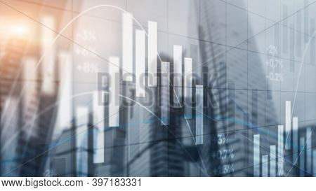 The Stock Market On The Background Of Office Buildings. Trading Wallpaper.