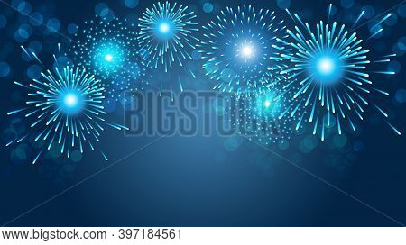 Firework On Blue Background For  Christmas And Happy New Year Celebration Party