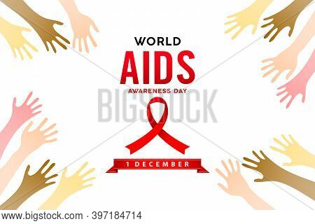 World Aids Day Awareness 1st December Illustration With Red Ribbon On Two Hands. Aids Or Hiv Celebra