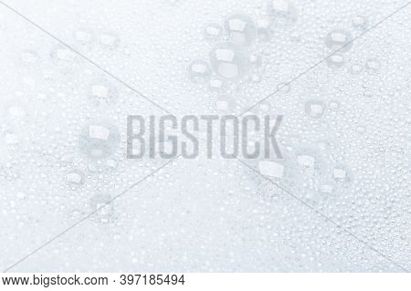 Background Of Soap Foam And Bubbles On A White Background, Macro Photography