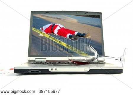 Santa Claus Dead. Santa lays dead in the street with a Police Chalk Line and Yellow Do Not Cross Police Tape. Santa Claus is victim to violence. Computer with Spilled glass of wine on keyboard.