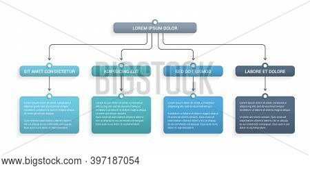 Flowchart With 4 Elements, Infographic Template With 4 Steps Or Options, Vector Eps10 Illustration