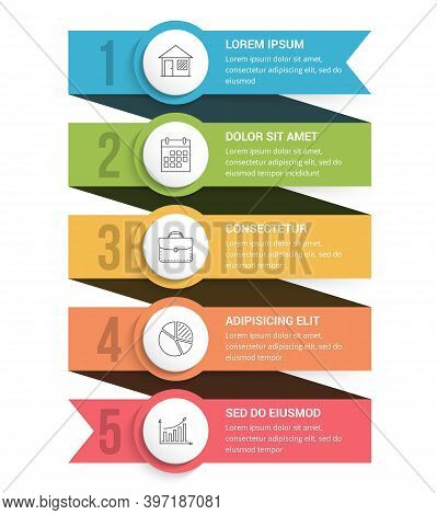 Ribbon Infographics, Template With Five Elements With Icons And Text, Three Steps Or Options, Vector