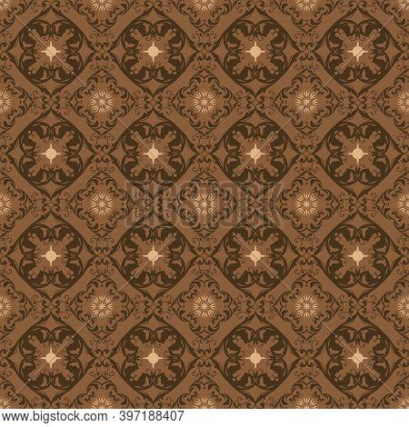 Simple Motifs Design On Bantul Batik With Good Dark Brown Color Concept.