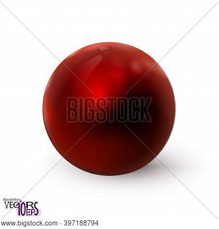 Red Sphere Glossy Realistic Isolated On White Background. Delicious Polished Ball. Mock Up Of Clean