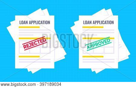 Rejected And Approved Credit Or Loan Forms Set With Claim Form On It, Paper Sheets Isolated On Blue