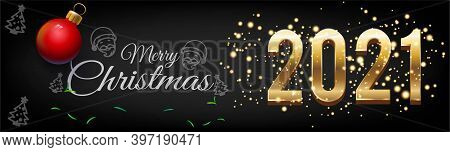 Merry Christmas And Golden Happy New Year 2021 Posters Horizontal With Burst Glitter On Black Colour