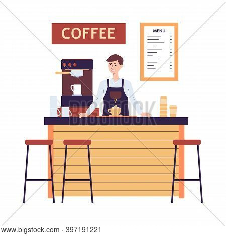 Man Barista Behind Counter In Coffeehouse Flat Vector Illustration Isolated.