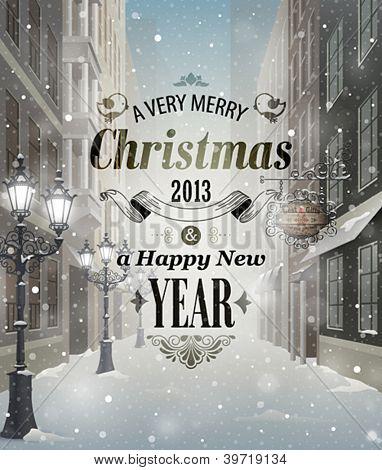 Christmas greeting card - snowy street.