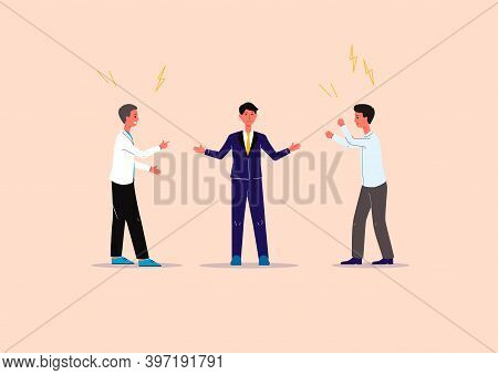 Conflicts Solution And Business Mediation Banner Flat Vector Illustration.
