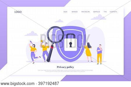 Privacy Policy Personal Data Protection Business Concept. Safe Using Internet On The Work Metaphor F