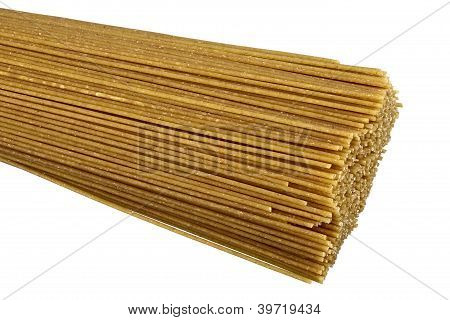 Raw bio whole grain pasta isolated on white background. DFF image poster