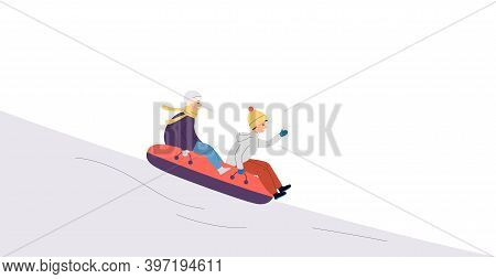 People Riding Down Winter Snowy Hill On Sledge Flat Vector Illustration.