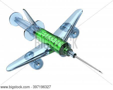 Travel Concept With Vaccine For Coronavirus Sars Cov 2 Virus Covid-19 - 3d Illustration