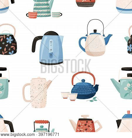 Seamless Pattern With Cute Ceramic Teapots And Cups On White Background. Backdrop With Kettles. Kitc