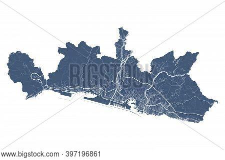 Genoa Map. Detailed Vector Map Of Genoa City Administrative Area. Cityscape Poster Metropolitan Aria