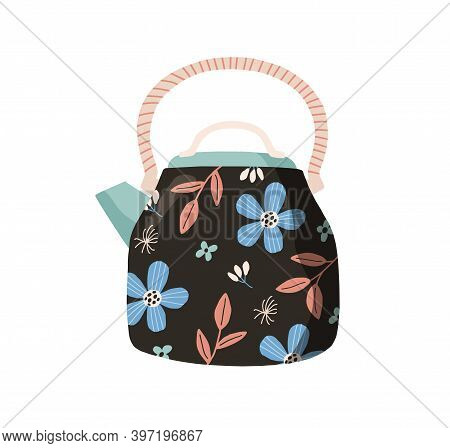 Cute Ceramic Teapot Painted With Flowers In Retro Style. Tea Kettle Isolated On White Background. Ha