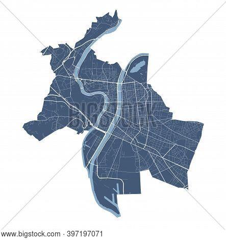Lyon Map. Detailed Vector Map Of Lyon City Administrative Area. Cityscape Poster Metropolitan Aria V