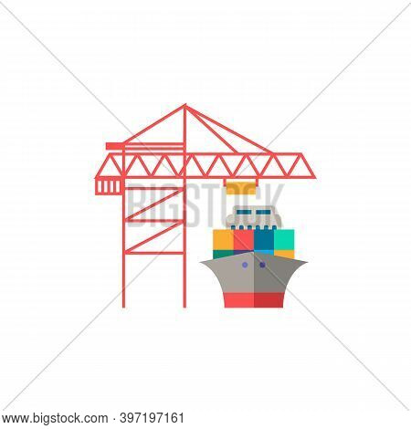 Port Crane Icon. Simple Element From Port Collection. Creative Port Crane Icon For Web Design, Templ