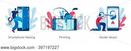 A Hacker Girl Is Engaged In Phishing On A Smartphone. Hackers Open The Smartphone. A Set Of Vector I