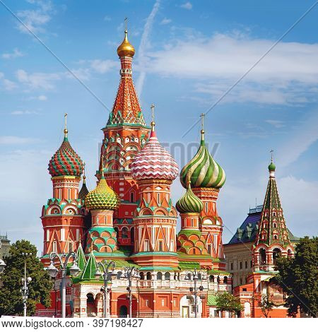 St. Basil\'s Cathedral. Orthodox Church On Red Square In Moscow, A Monument Of Russian Architecture.