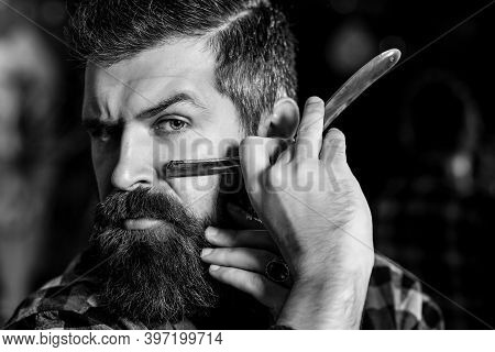 Barber Shop. Vintage Barbershop, Shaving. Vintage Straight Razor. Portrait Of Stylish Bearded Man.