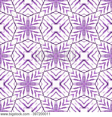 Textile Ready Classic Print, Swimwear Fabric, Wallpaper, Wrapping.  Purple Exquisite Boho Chic Summe