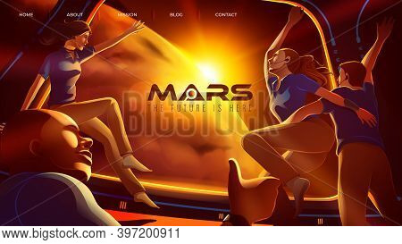 Vector Illustration Featuring The Expedition Of 4 Space Astronauts Congratulate Together Inside The