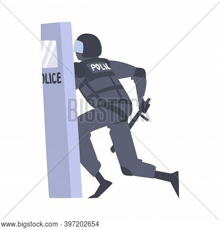 Riot Police Officer In Uniform With Shield And Baton Controlling Mass Protest Vector Illustration