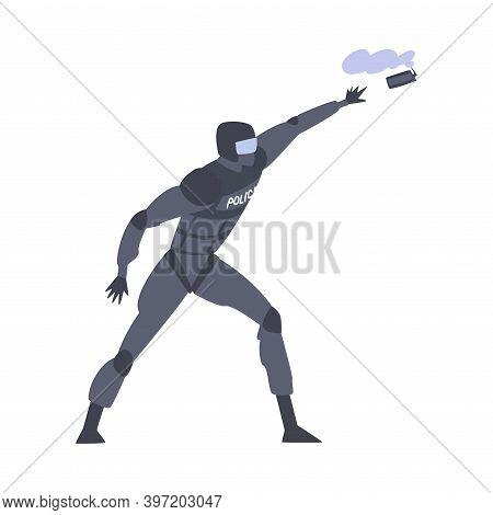 Riot Police Officer In Uniform Throwing Smoke Grenade In Protester Vector Illustration