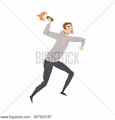 Male Character With Molotov Cocktail Attacking And Fighting In Street Riot Vector Illustration