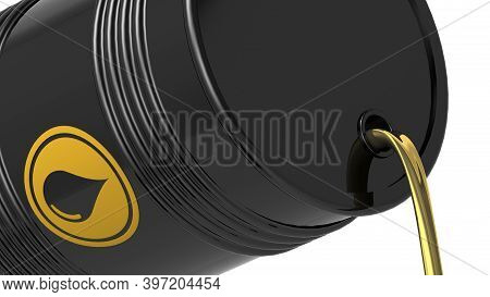 Crude Oil Flow Out From Black Barrel, 3d Rendering