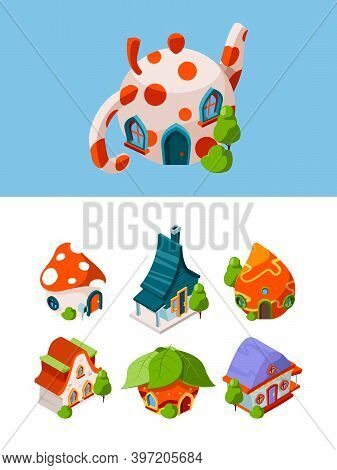 Fantasy Isometric Buildings. Fairytale Construction Medieval Cottage Vector Games Objects Isolated.