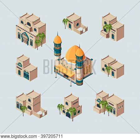 Traditional Arabic Buildings. Eastern Sandy Desert Cultural Authentic Houses Vector Isometric Collec