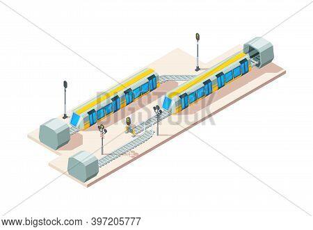 Railway Junction. Train Railroads Business Transportation Company Vector Isometric Concept. Illustra