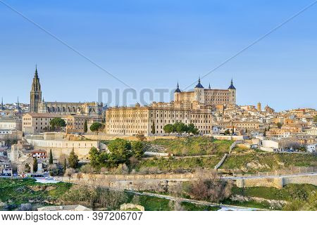 View Of Toledo Historic Center From Across The Tagus River, Spain