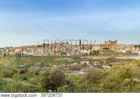View Of Toledo From Across The Tagus River, Spain