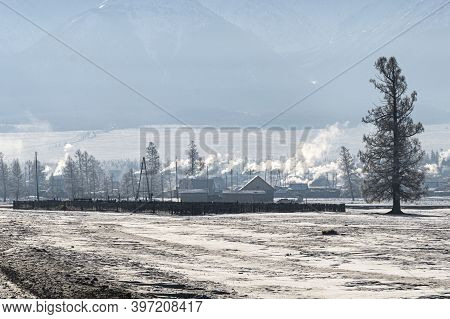 Early Morning Sunrise In Steppes. Snow-covered Pasture In The Altai Republic. The Onset Of Winter, S