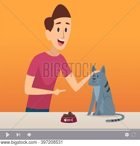 Groomer Man. Male With Cat, Video Content About Pets. Animal Channel Online, Blogger And Cute Kitten