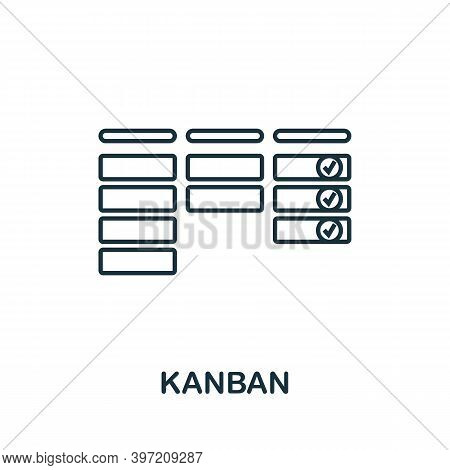 Kanban Icon. Line Style Element From Agile Collection. Thin Kanban Icon For Templates, Infographics