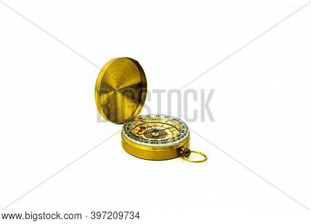 Antique Golden Pocket Compass Isolated On White Background.