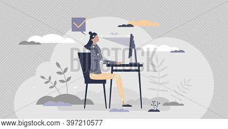 Office Ergonomics As Correct And Healthy Sitting Posture Tiny Person Concept. Workspace Table Or Cha