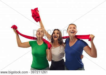 Hope. Female Soccer Fans Cheering For Favourite Team With Bright Emotions Isolated On White Studio B