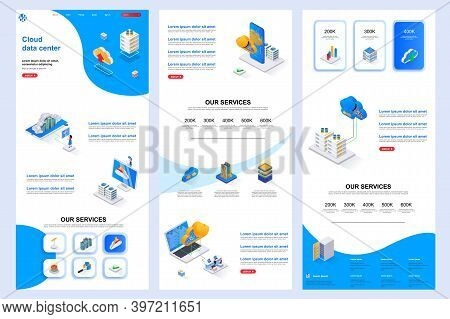 Cloud Data Center Isometric Landing Page. Database Storage, Online Computing Resources Corporate Web