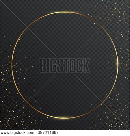 Thin Round Golden Geometric Border And Confetti On Dark Transparent Background. Glossy Circle Banner