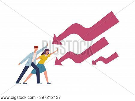 Man And Woman Stopping Falling Arrow. Male And Female Character Financial Problems, Stop Economic Cr