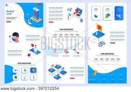 Medical Clinic Isometric Landing Page. Medical Rehabilitation Center, Modern Hospital Corporate Webs