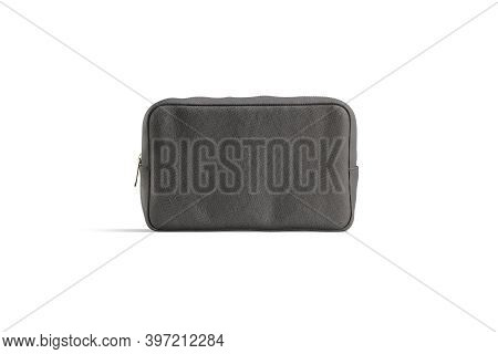 Blank Black Canvas Cosmetic Bag Mockup, Front View, 3d Rendering. Empty Linen Cosmetician With Zippe
