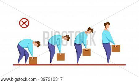Lifting Box Improper Technique Vector Health Care Concept. Cartoon Illustration