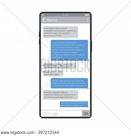 Mobile Chat. Smartphone Screen Messaging App, Chatting And Texting Application, Phone Device Keyboar